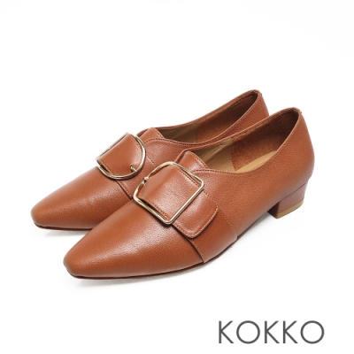 KOKKO - 柔軟羊皮方頭大D扣粗跟鞋 - 棕色