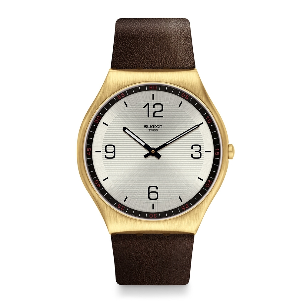 Swatch 超薄金屬系列手錶 SKIN SUIT COFFEE 紳裝咖啡面-42mm