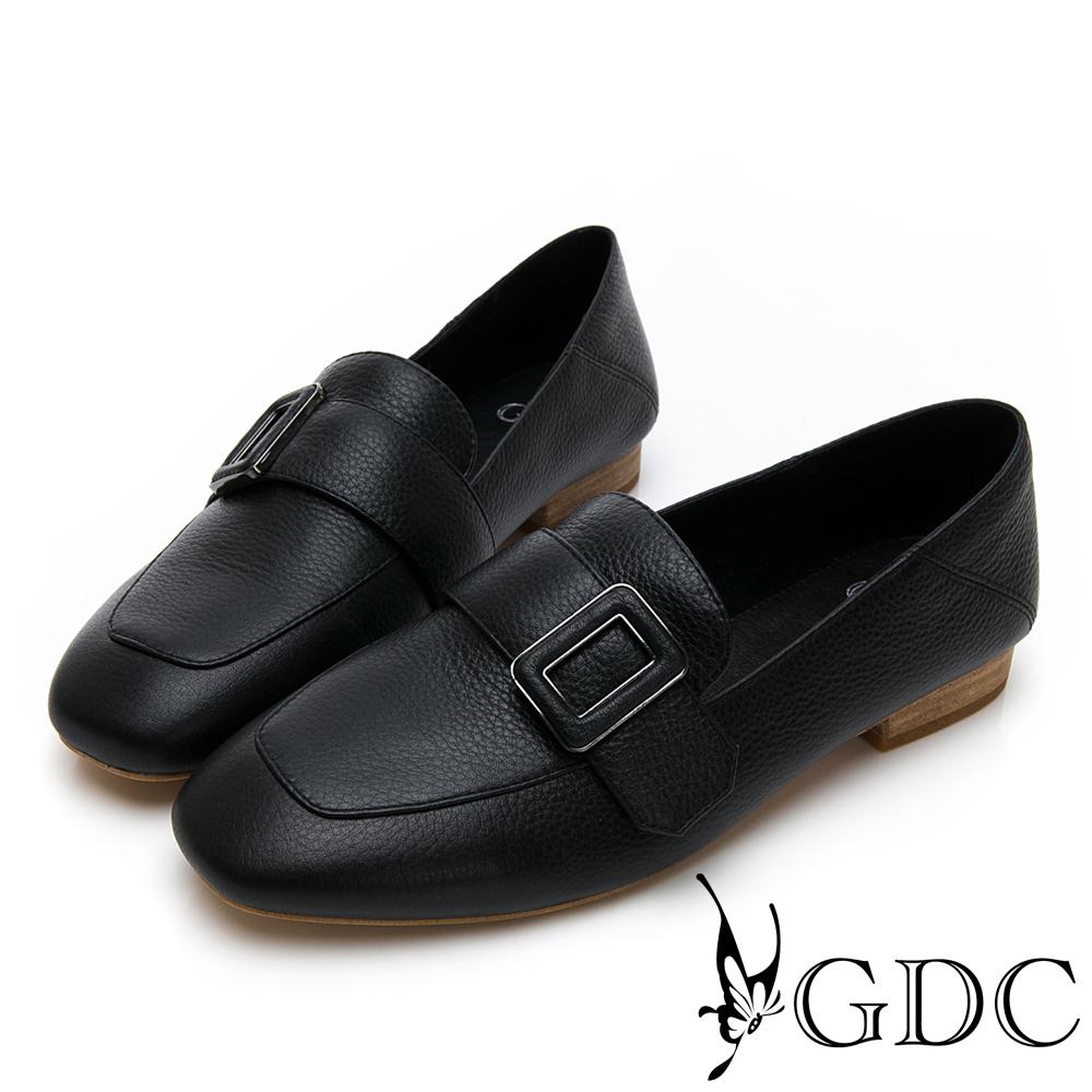 GDC-氣質文青方釦真皮質感方頭流行樂福鞋-黑色
