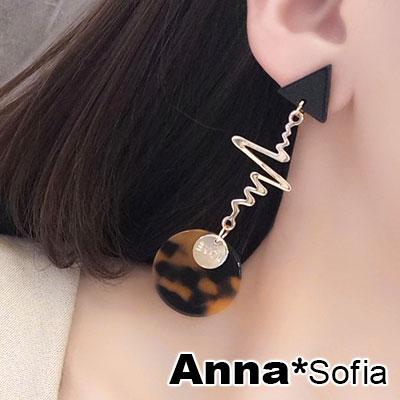 AnnaSofia 玳瑁紋圓三角心跳 中大型耳針耳環(金系)