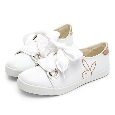 PLAYBOY 軟皮革寬版帶休閒鞋-白-Y570211