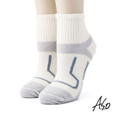 A.S.O長效抑菌系列-運動短襪-白色