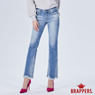 BRAPPERS 女款 新美腳ROYAL系列-褲口不規則抽鬚小靴型褲-藍
