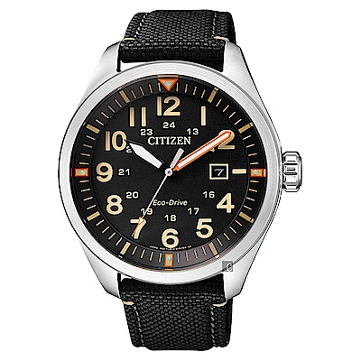 CITIZEN 星辰 Eco-Drive 光動能飛行員手錶-黑/43mm