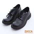 ZUCCA  經典皮革綁繩紳士鞋-黑色-z6516bk