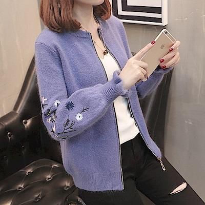 純色刺繡毛衣外套-共4色-52066-(F可選)    NUMI 森