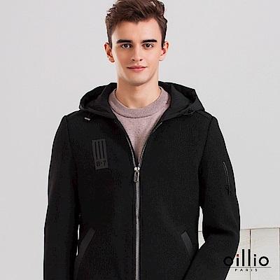 歐洲貴族 oillio 造型連帽外套 修身版型 特色下擺 黑色