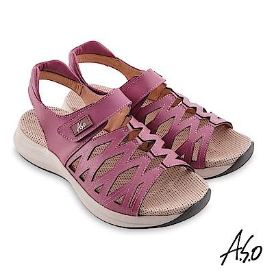 A.S.O機能休閒 輕穩健康牛皮網格休閒涼鞋 桃粉