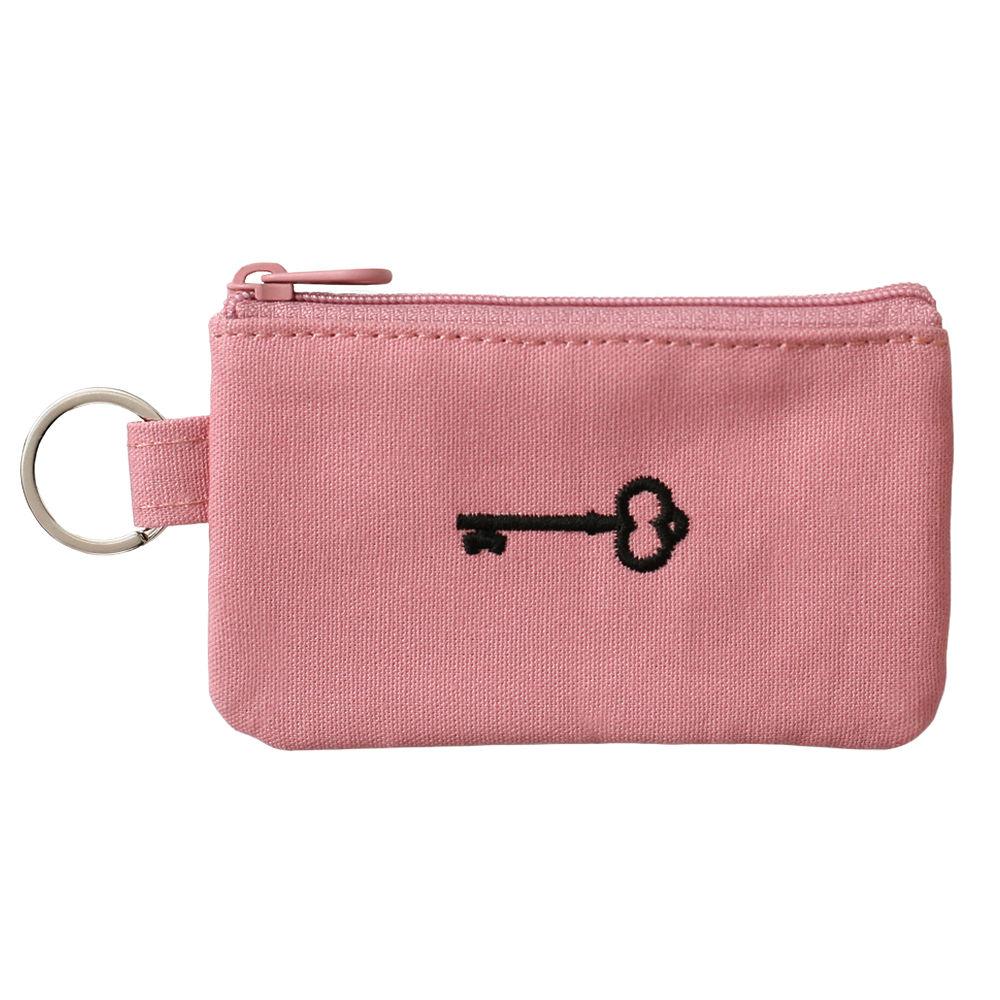 2NUL 心之鑰刺繡票卡鑰匙包-甜心粉