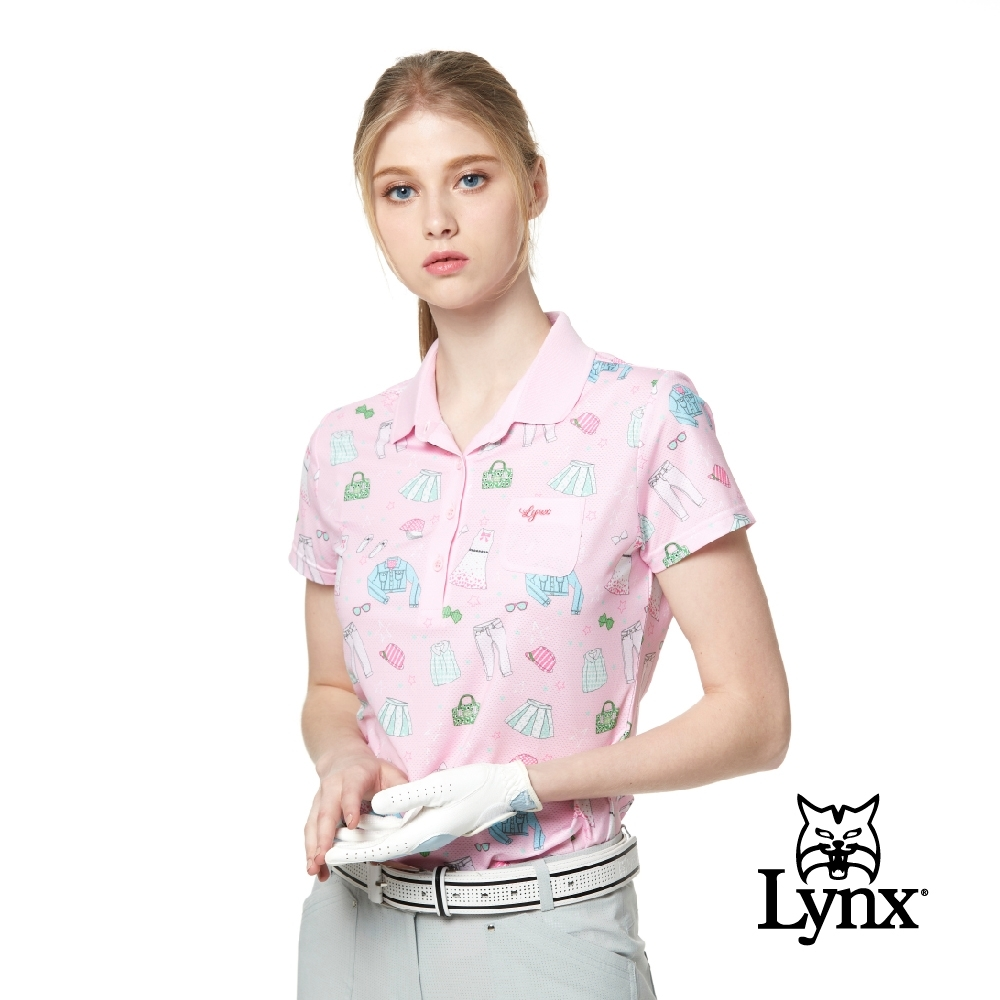 【Lynx Golf】女款吸濕排汗涼感透氣洞洞布小胸袋設計短袖POLO衫-粉色