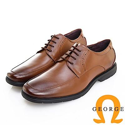 GEORGE 喬治皮鞋 輕彈系列 超輕量繫帶柔軟真皮紳士鞋-咖啡色