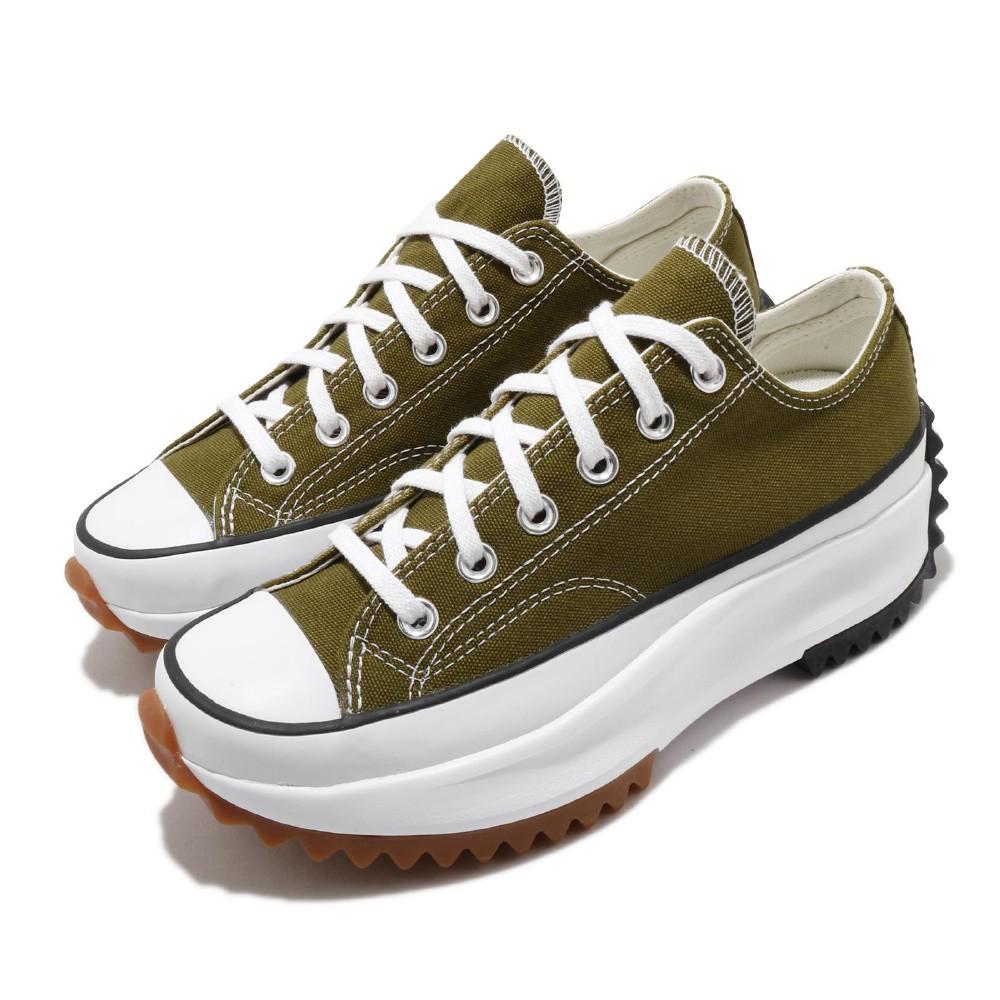 CONVERSE 帆布鞋 Run Star Hike 男女鞋 低筒 潮流 鋸齒鞋 厚底 星星 情侶 綠 白