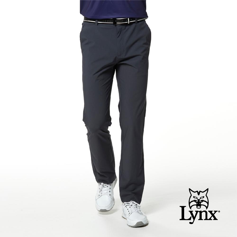 【Lynx Golf】男款彈性舒適特殊剪裁後腰剪接隱形拉鍊平口休閒長褲-深灰色