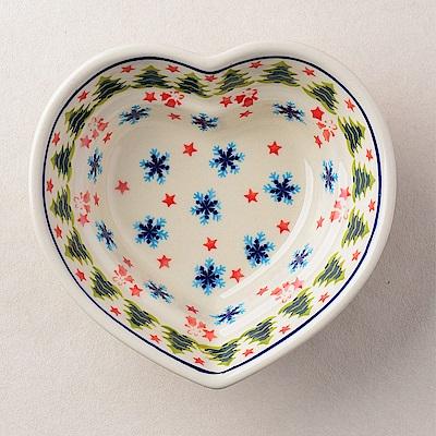 【波蘭陶 Zaklady】波蘭陶 耶誕雪花系列 愛心造型烤盤 波蘭手工製