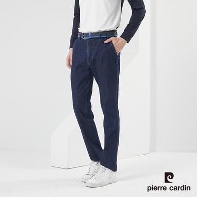 Pierre Cardin皮爾卡登 男裝 彈力中腰修身直筒型牛仔褲-藍色(7217883-39)