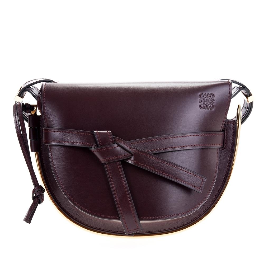 LOEWE 新款Gate 滑面牛皮小款金屬邊斜背/肩背包 (巧克力色)