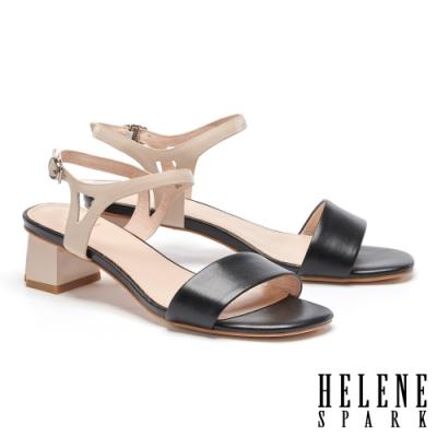 涼鞋 HELENE SPARK 清新簡約雙色一字全真皮高跟涼鞋-黑