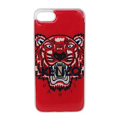 KENZO 3D立體彩繪虎頭黑色英文字母 I PHONE 8 軟膠手機殼 (紅色)