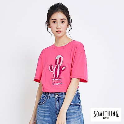 SOMETHING 仙人掌刺繡圓領T恤-女-桃紅