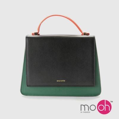 mo.oh-設計款簡約撞色斜背梯形包-黑綠色