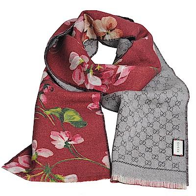 Gucci Miniorophin 天竺葵印花GG LOGO雙面羊毛造型圍巾(酒紅)