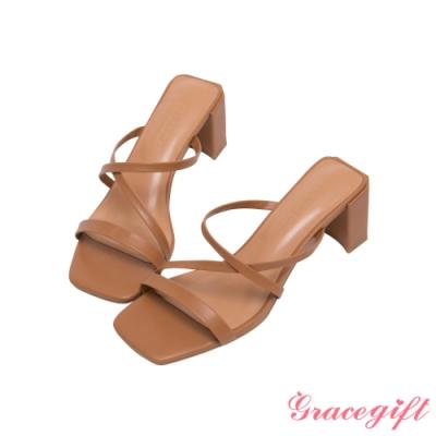 Grace gift-Z字細帶高跟涼拖鞋 棕