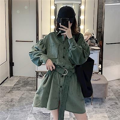 DABI 韓國風復古燈芯絨泡泡袖腰帶襯衫長袖洋裝