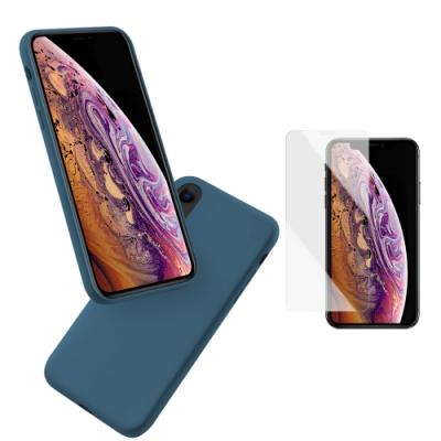 [買手機殼送保護貼] iPhone X XS 暮夜藍 液態 矽膠 手機保護軟殼 (iPhoneX手機殼 iPhoneXS手機殼 )