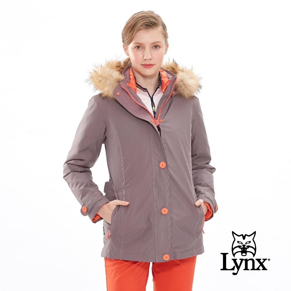 【Lynx Golf】女款防風防水透氣保暖Gore-Tex兩件式長袖外套-藕灰色
