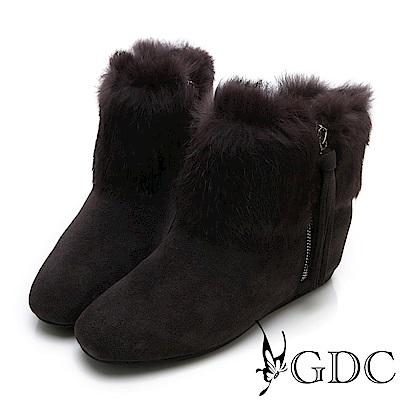 GDC-真皮毛絨水鑽貴婦秋冬短靴-咖色