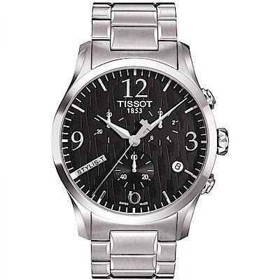 TISSOT天梭 沉穩三眼計時腕錶(T0284171105700)-黑/42mm