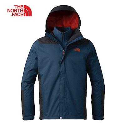 The North Face北面男款藍灰撞色三合一外套|3CGLSZU