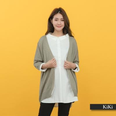 【KiKi】舒適單扣長袖-針織上衣(三色)