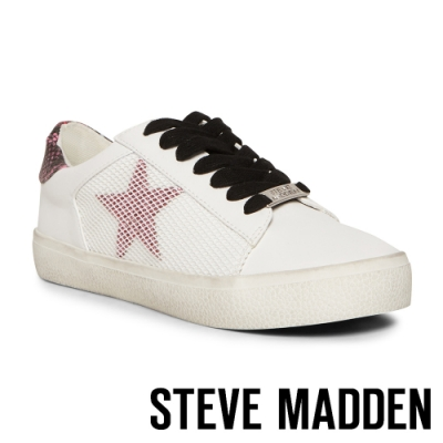 STEVE MADDEN-PHILLY-百搭實穿 仿舊鞋底星星綁帶平底休閒小白鞋-白色