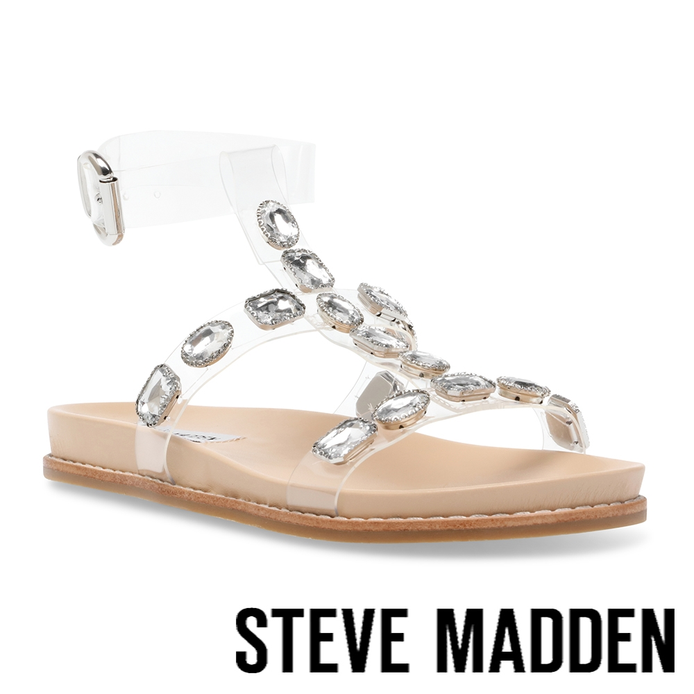 STEVE MADDEN-DAFT-S 透明鑽飾繞踝平底涼拖鞋-透明