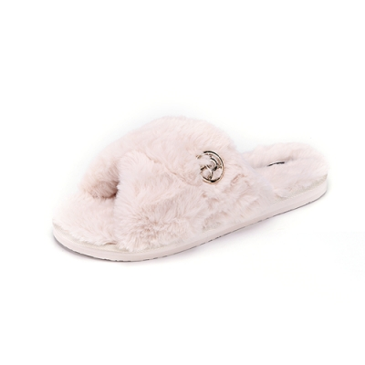 ROCKY BEAR  保暖交叉絨毛拖鞋-米白(女)