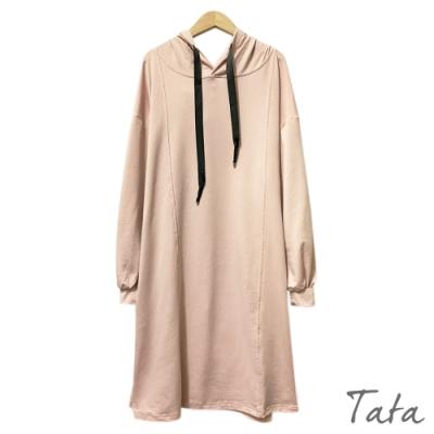 側開衩連帽繫帶縮口澎澎袖洋裝 共二色 TATA-(L/XL)