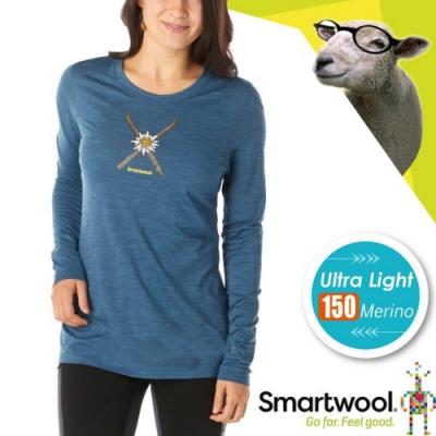 SmartWool 女 塗鴉雪花 超輕彈性透氣長袖圓領T恤_水霧藍