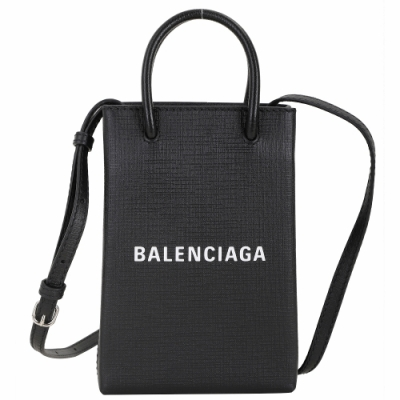 BALENCIAGA Shopping Phone Holder 字母小牛皮手提/斜背包(黑色)