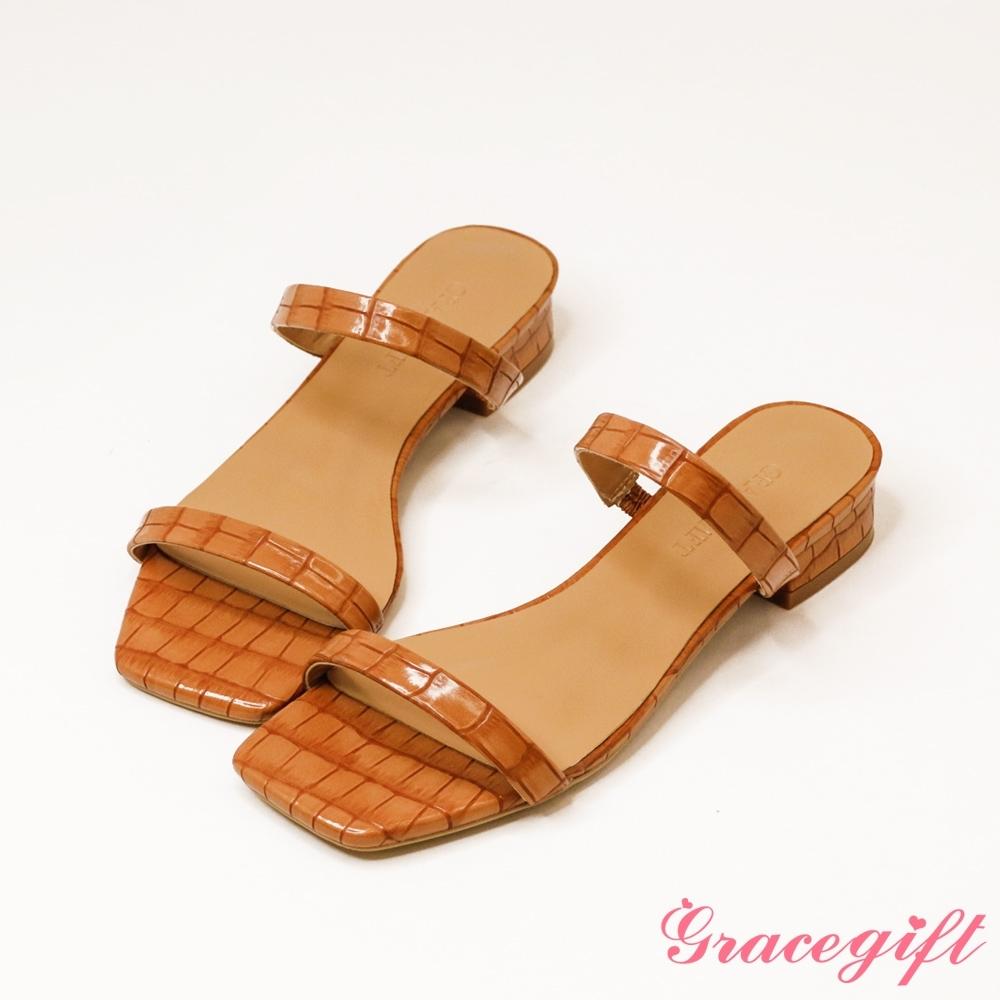 Grace gift-一字雙細帶低跟涼拖鞋 咖壓紋