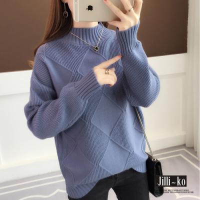 JILLI-KO 韓版氣質半高領落肩針織上衣 - 藍/紫