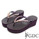 GDC-夏日璀璨甜美貓型水鑽夾腳拖鞋-紫色