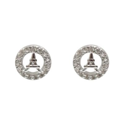 Prisme 美國時尚飾品 閃耀鑲鋯鐵塔造型純銀耳環