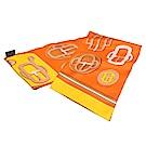 HERMES Maxi Twilly釦頭圖騰絲綢長型披巾/圍巾(柑橙色)