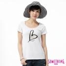 SOMETHING T恤 優雅愛心印花T恤 -女-白色