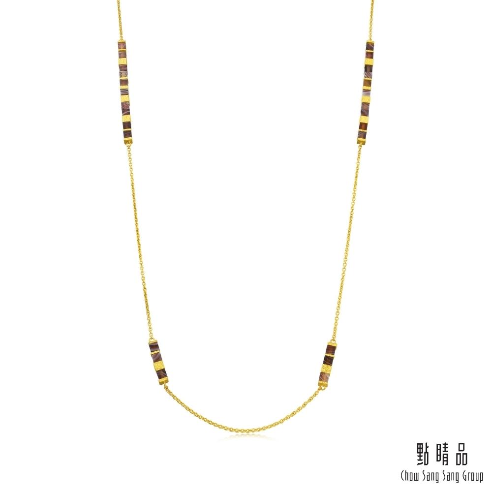 點睛品g collection方形幾何瑪瑙黃金項鍊(長鍊)