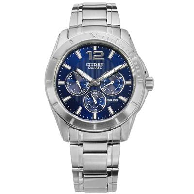 CITIZEN 魅力三眼 礦石強化玻璃 日期視窗 防水100米 不鏽鋼手錶-藍色/41mm