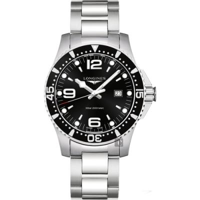 LONGINES 浪琴 征服者300米潛水石英手錶-黑x銀/44mm