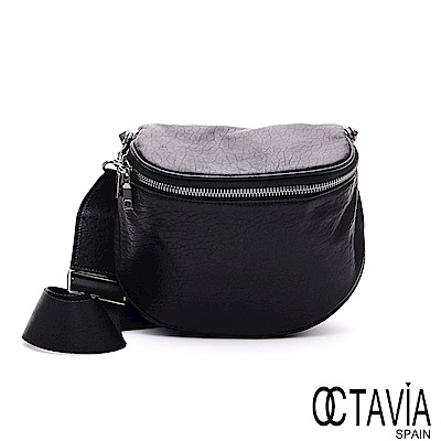 OCTAVIA8 真皮 - FAR AWAY 全牛皮半月立體斜背腰包 - 自由黑