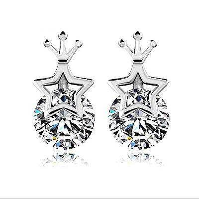 米蘭精品 925純銀耳環-鑲鑽星星皇冠耳環